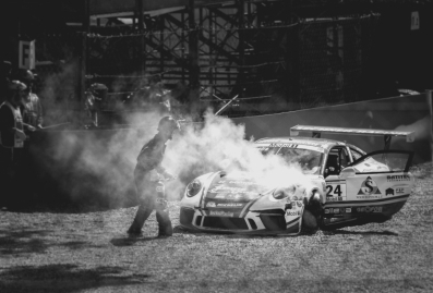 The car in the smoke
