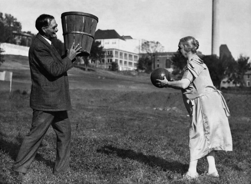 James Naismith and his wife, Maude playing basketball