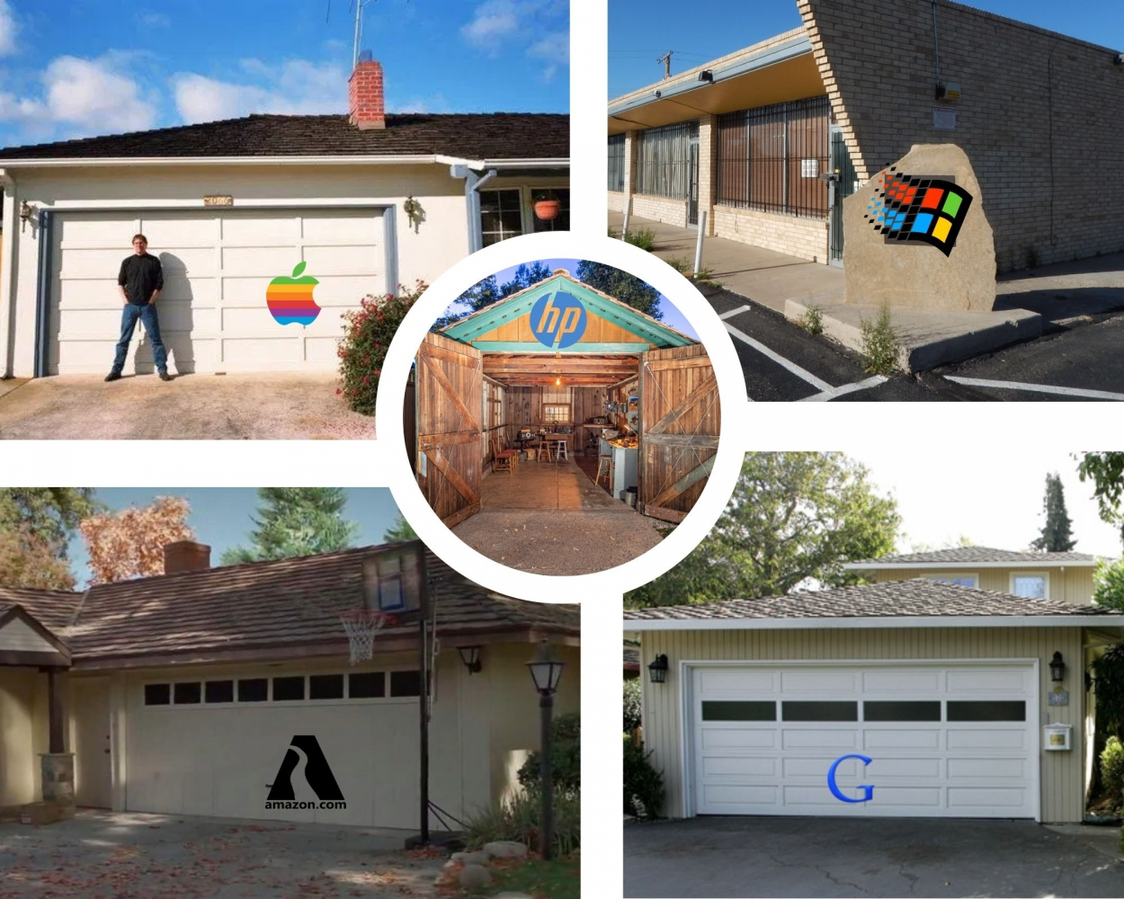 5 garages: Apple, HP, Microsoft, Amazon and Google