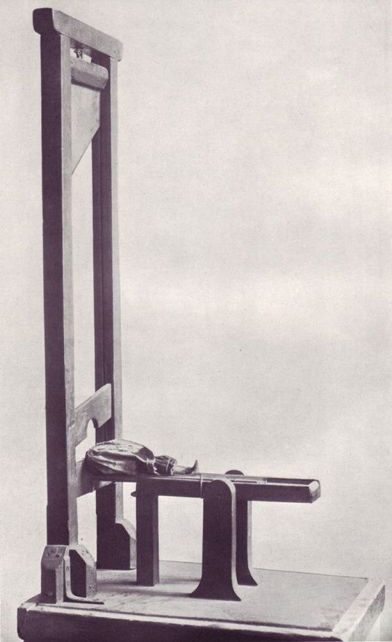 A toy guillotine
