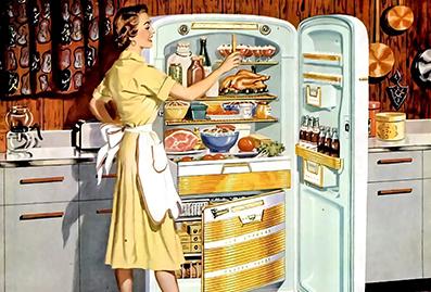 Woman opens retro refrigerator