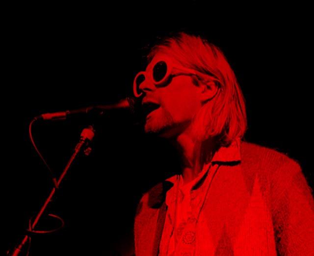 Kurt Cobain singing in red