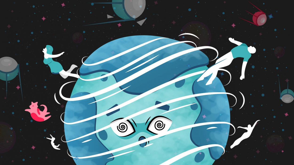Earth spinning faster, people and animals throw out into outer space